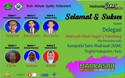 Siswa MAN 3 Palembang Borong Juara 1 KSM Tingkat Kota Palembang