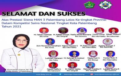 17 Siswa MAN 3 Palembang Lolos KSN Ke Tingkat Provinsi