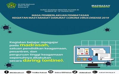 Awal Tahun Pelajaran 2021-2022 MAN 3 Palembang Lanjutkan Pembelajaran Daring